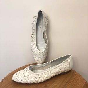 Amalfi White Woven Flats Made in Italy